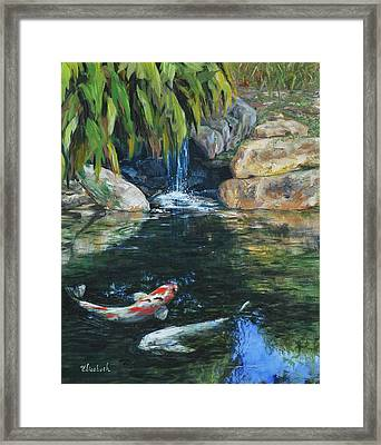 Koi Under The Waterfall Framed Print by Beth Maddox