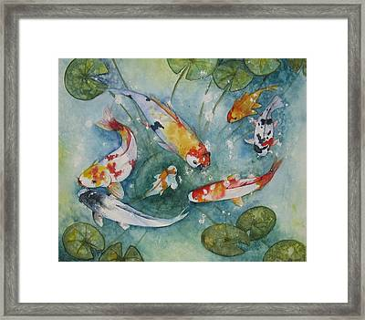 Koi  With Lilies Framed Print by Gina Hall
