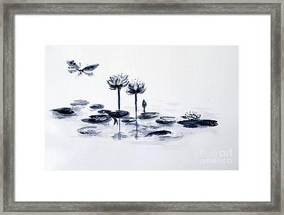 Koi With Waterlilies And Flutterby Framed Print by Sibby S