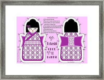 Kokeshi Chou Butterfly Doll Kit Framed Print by Anne Kitzman