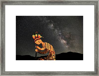 Kokopelli And The Milky Way Framed Print by Donna Kennedy
