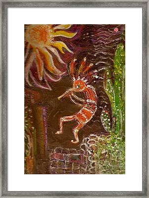 Kokopelli And The Sunny Moon Framed Print by Anne-Elizabeth Whiteway