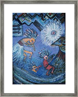 Kokopelli Dancers And Big Bird Framed Print by Anne-Elizabeth Whiteway