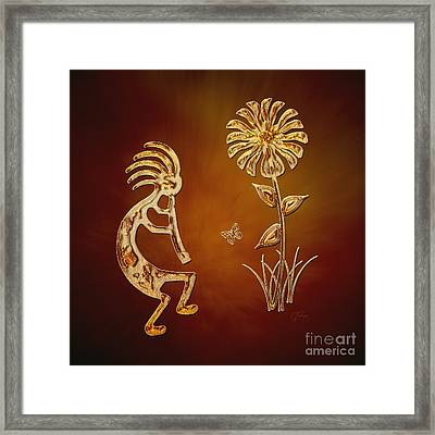 Kokopelli - Flower Serenade Framed Print