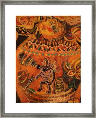 Kokopelli On Ornate Vase Framed Print by Anne-Elizabeth Whiteway