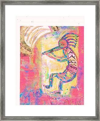 Kokopelli Sleepy Dance Framed Print by Anne-Elizabeth Whiteway