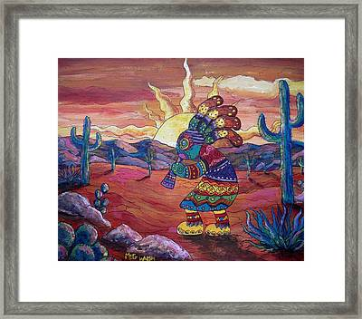 Kokopelli Sunset Framed Print
