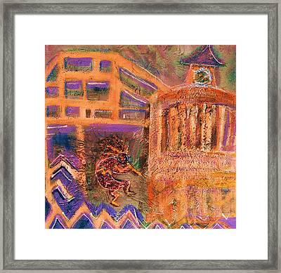 Kokopelli Visits Venue From Antiquity Framed Print by Anne-Elizabeth Whiteway