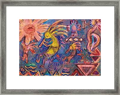 Kokopellis Gone Crazy In The Noonday Sun Framed Print by Anne-Elizabeth Whiteway