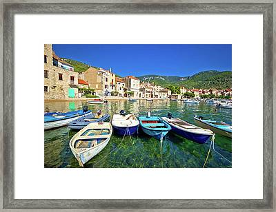 Komiza On Vis Island Turquoise Waterfront Framed Print