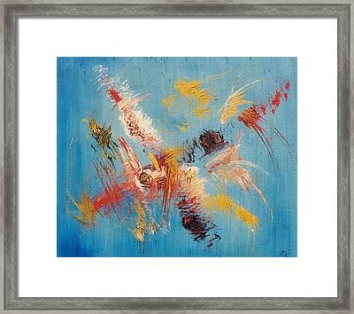 Komposition Auf Blau Framed Print by Michael Puya