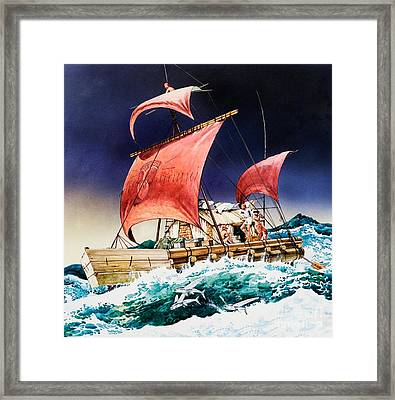 Kon Tiki On Its Epic Voyage Framed Print