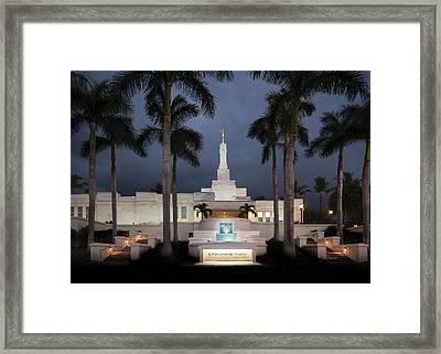 Kona Hawaii Temple-night Framed Print