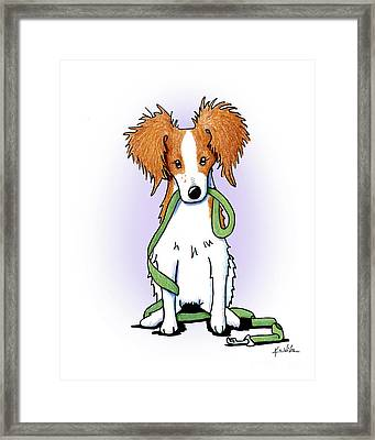 Kooikerhondje With Leash Framed Print by Kim Niles