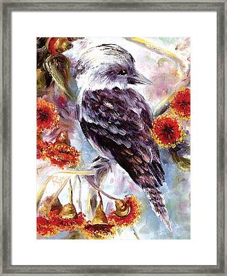 Kookaburra In Red Flowering Gum Framed Print