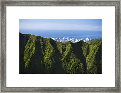 Koolau Mountains And Honolulu Framed Print by Dana Edmunds - Printscapes