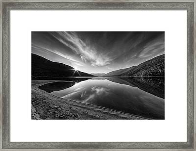 Kootenay Lake Sunrise Black And White Framed Print by Mark Kiver
