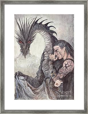 Kor-gat And Black Dragon Framed Print by Morgan Fitzsimons
