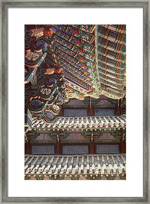 Korean Buddhism Temple Photography - Temple Tiles Framed Print