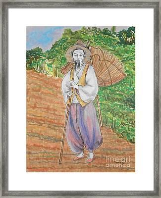 Korean Farmer -- The Original -- Old Asian Man Outdoors Framed Print