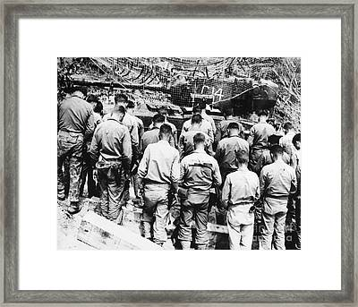 Korean War: Church Service Framed Print by Granger