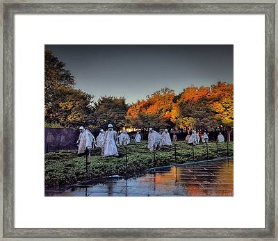 Korean War Memorial In Washington Dc Framed Print