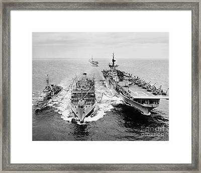 Korean War: Ship Refueling Framed Print by Granger