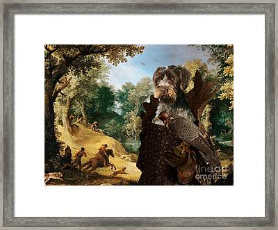 Korthals Pointing Griffon Art Canvas Print - The Hunters And Lady Falconer Framed Print