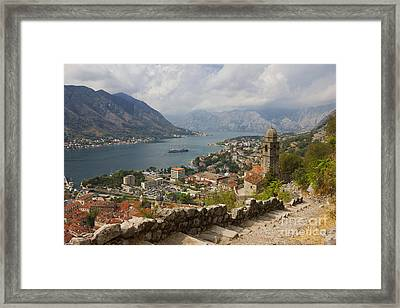 Kotor Panoramic View From The Fortress Framed Print by Kiril Stanchev