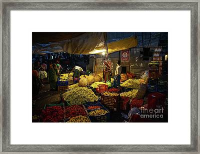Framed Print featuring the photograph Koyambedu Chennai Flower Market Predawn by Mike Reid