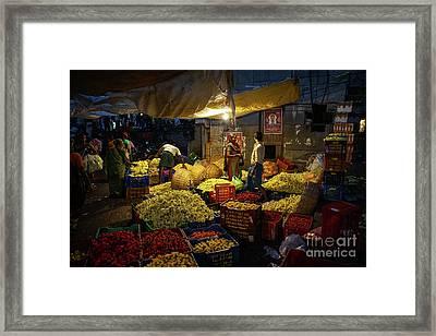 Koyambedu Chennai Flower Market Predawn Framed Print