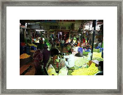 Framed Print featuring the photograph Koyambedu Flower Market Stalls by Mike Reid