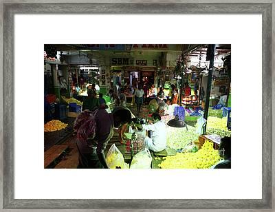 Koyambedu Flower Market Stalls Framed Print
