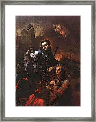 Kracker Johann Lucas St Francis Of Solano Baptizing Indians Framed Print by Johann Lucas Kracker