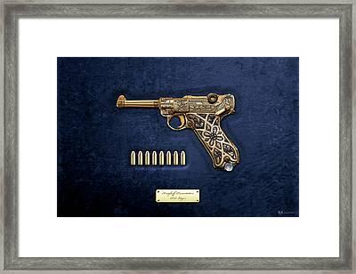 Krieghoff Presentation P.08 Luger With Ammo Over Blue Velvet  Framed Print