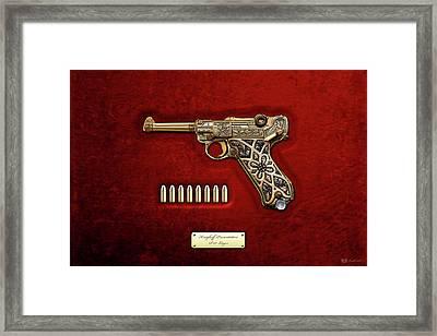 Krieghoff Presentation P.08 Luger With Ammo Over Red Velvet  Framed Print