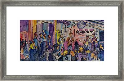Framed Print featuring the painting Kris Lager Band At The Goat by David Sockrider
