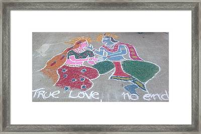 Krishna - Radha Love Framed Print by Joni Mazumder