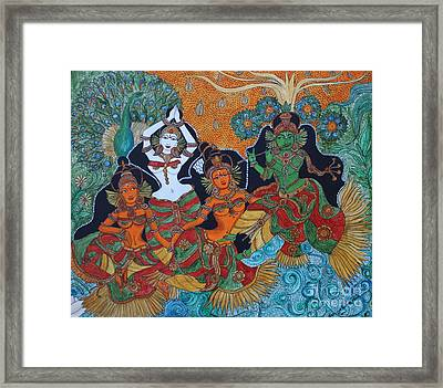 Krishna And Gopika Framed Print by Saranya Haridasan