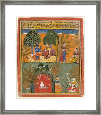 Krishna And Radha With Their Confidantes Page From A Dispersed Gita Govinda Framed Print
