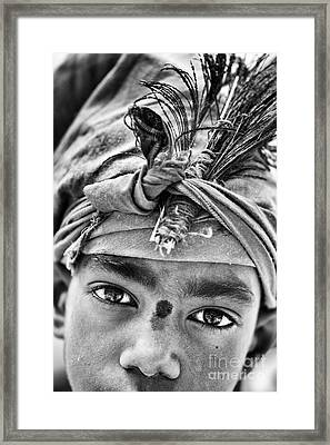 Krishna Boy Framed Print by Tim Gainey