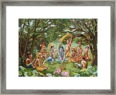 Krishna Eats Lunch With His Friends With No Bordure Framed Print by Dominique Amendola