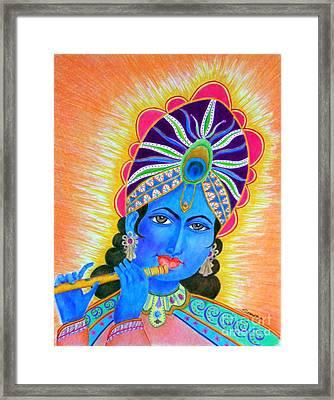 Krishna -- Colorful Portrait Of Hindu God Framed Print