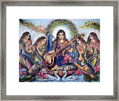 krishna - Kirtan  Framed Print by Harsh Malik