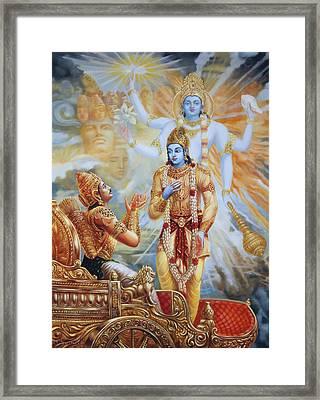 Krishna Reveals His Universal Form To Arjuna Framed Print by Dominique Amendola