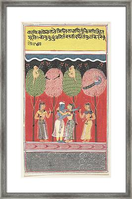 Krishna Revels With The Gopis Page From A Dispersed Gita Govinda Song Of The Cowherds Framed Print
