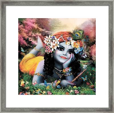 Krishna-sky Boy Framed Print