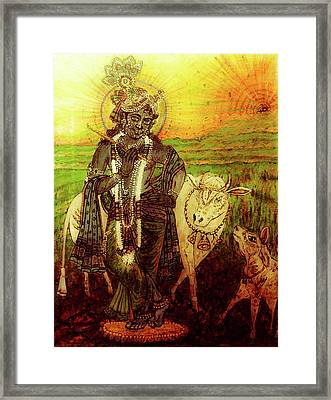 Krishna With Cows Framed Print