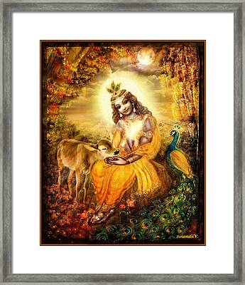 Krishna With The Calf Framed Print