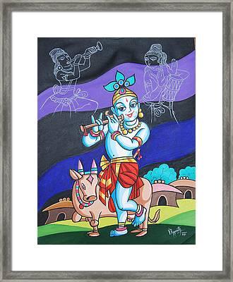Framed Print featuring the painting Krishna's Musical Harmony by Ragunath Venkatraman